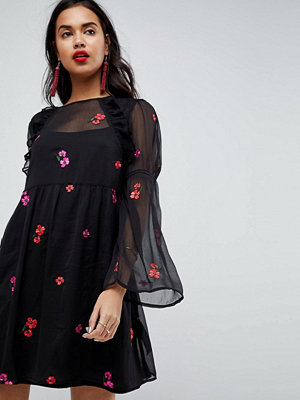 ASOS Embroidered Smock Mini Dress