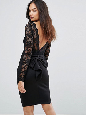City Goddess Long Sleeve Lace Mini Dress With Bow Back