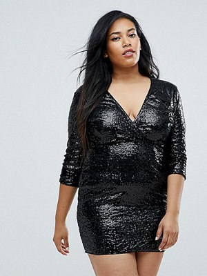 Club L Plus 3/4 Sleeve Wrap Front All Over Sequin Dress
