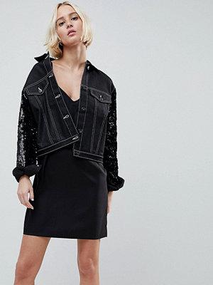 Jeansjackor - N12H Jetset Cropped Denim Sequin Sleeve Jacket