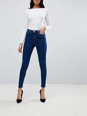 ASOS RIDLEY High Waist Skinny Jeans In Popular Deep Blue Wash