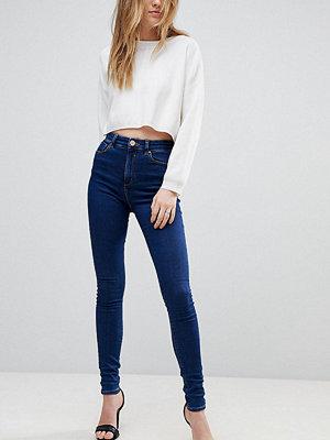 Asos Tall RIDLEY High Waist Skinny Jeans In Popular Deep Blue Wash