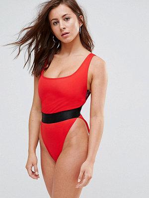 Baddräkter - ASOS FULLER BUST High Leg Elastic Waist Swimsuit DD-G