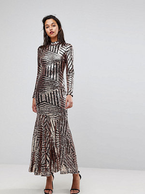 Club L All Over Sequin Long Sleeve Maxi Dress - Rose gold
