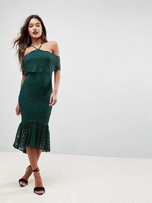 ASOS Bandeau Flutter Sleeve Lace Midi Pephem Dress