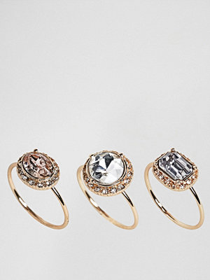 Aldo Fine Jewel Multipack Ring Set - Pastel multi on gold