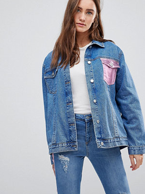 Jeansjackor - Chorus Metallic Foil Pocket Oversized Denim Jacket