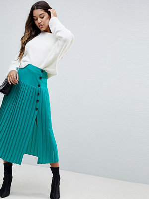 ASOS Pleated Midaxi Skirt with Side Button Detail