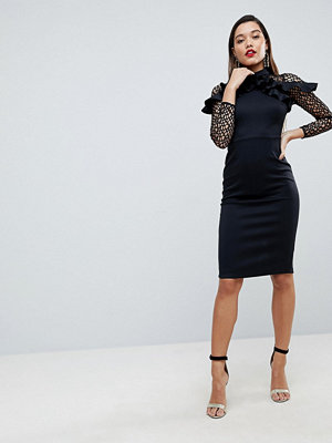 ASOS Premium Midi Pencil Dress with Mesh and Frill Details