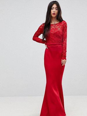 City Goddess Petite Bow Back Maxi Dress With Lace Body