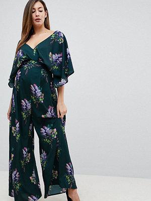 ASOS Maternity Mönstrad jumpsuit med kimono-ärm och vida ben