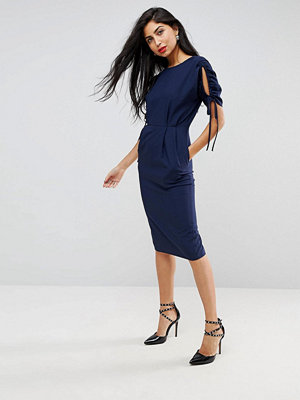 ASOS Ruched Cut Out Sleeve Midi Pencil Wiggle Dress