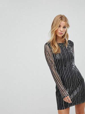 Honey Punch Long Sleeve Dress In Stripe Sequin