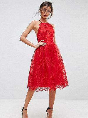 Chi Chi London Tall High Neck Scalloped Lace Dress