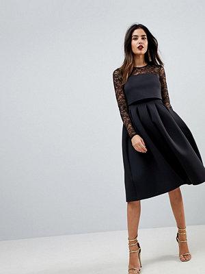 ASOS Lace Long Sleeve Crop Top Prom Dress