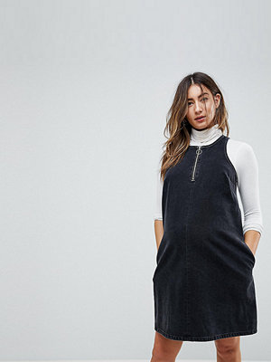 ASOS Maternity Denim Shift Dress in Washed Black With Circular Ring Pull