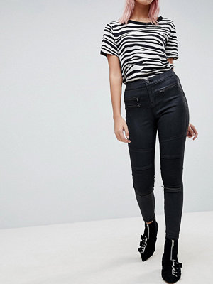ASOS SCULPT ME High Waisted Premium Jeans in Coated Black with Biker Styling