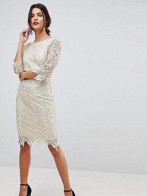 Paper Dolls Sequin Crochet 3/4 Sleeve Pencil Dress