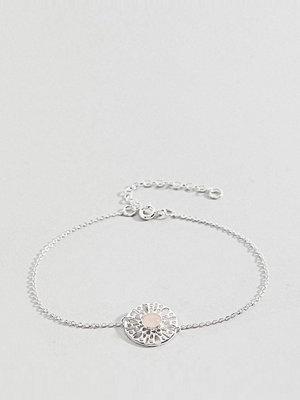 ASOS Curve armband Sterling Silver Faux Rose Quartz Fine Chain Bracelet