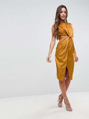 ASOS Twist Front Sexy Satin Pencil Dress with Cut Out