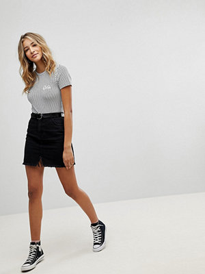 Missguided Raw Hem Denim Mini Skirt