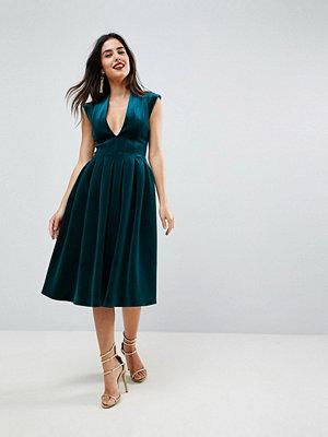 ASOS Deep Plunge Bonded Velvet Prom Midi Dress