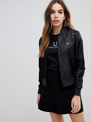 Fred Perry Amy Winehouse Foundation Bomber Jacket with Heart Embroidery