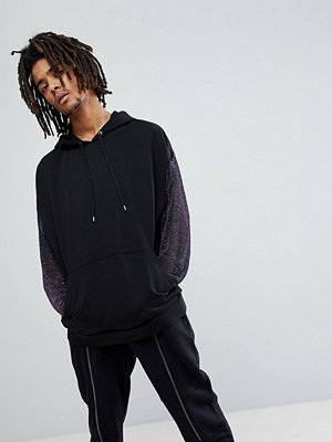 ASOS Oversized Hoodie With Iridescent Glitter Lace Sleeves