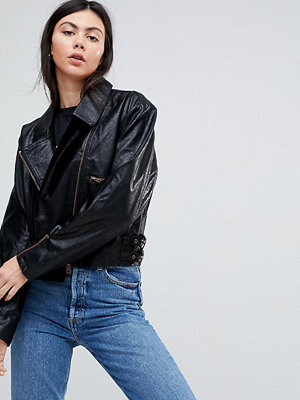 Asos Tall Cropped Leather Look 80's Biker Jacket