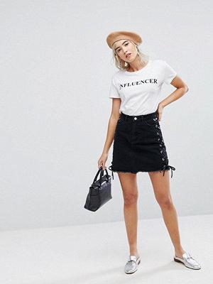 Urban Bliss Minikjol med spets Tvättad svart