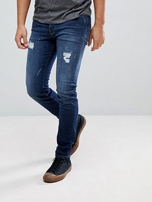 Selected Homme Skinny Jeans With Repairs