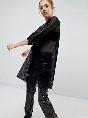 Weekday Velvet Mesh T-shirt Dress