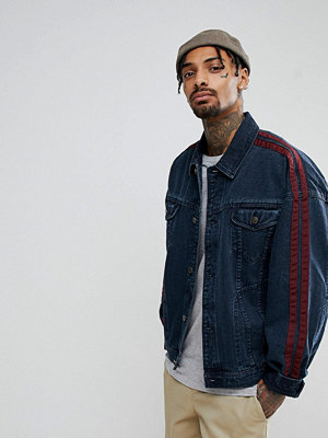 Jeansjackor - ASOS Oversized Denim Jacket With Laid On Tape in Blue Wash