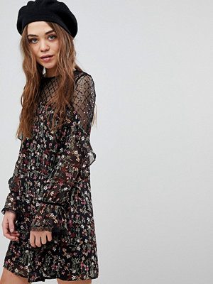 New Look Floral and Sequin Mesh Tunic Dress