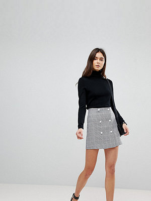 Asos Tall Double Breasted Mini Skirt in Check with Buttons