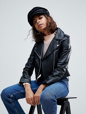 ASOS Petite Leather Jacket with Ring Pull Details