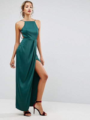 ASOS Drape Front Delicate Back Satin Maxi Dress - Forest green