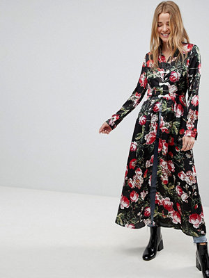 Boohoo Floral Print Maxi Shirt Dress