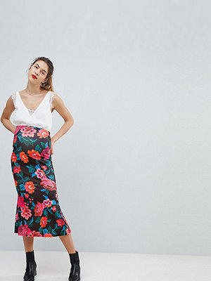 ASOS Maternity Midaxi Skirt with Kickflare in Rose Floral Print