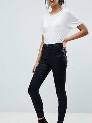 Asos Tall ASOS DESIGN Tall 'Sculpt me' premium jeans in black coated - Black coated