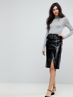Asos Tall Vinyl Pencil Skirt with Belt Detail