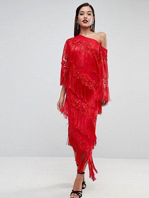 ASOS Edition Embroidered One Shoulder Fringe Midi Dress