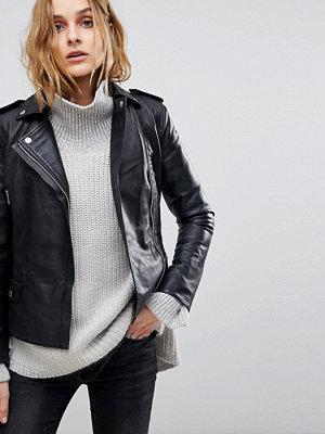 Skinnjackor - Muubaa Vila Fitted Cropped Leather Biker Jacket
