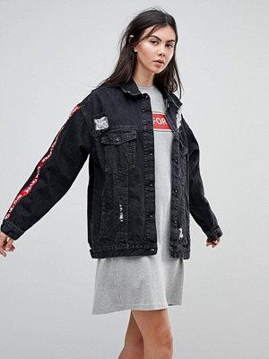 Jeansjackor - Kubban Tape Arm Oversized Denim Jacket