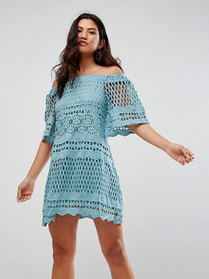 Girl In Mind Lace Bardot Style Swing Dress