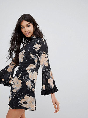 Parisian High Neck Floral Dress With Flare Sleeve - Black/beige