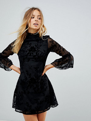 Parisian High Neck Floral Lace Dress With Flare Sleeve