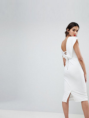 Asos Tall Origami Wrap Pencil Dress with Lace Up Back