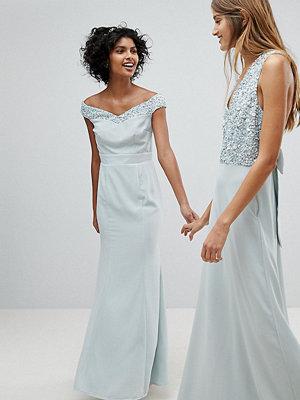 Maya Bardot Sequin Detail Maxi Dress With Bow Back Detail - Ice blue