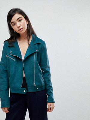 Soaked in Luxury Faux Suede Biker Jacket - Mallard blue